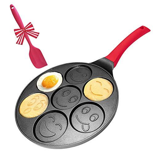 Pancake Griddle Pan Emoji Pancake Pan Nonstick Smile Face Pancake Mold for Kids - 6 inch Handle
