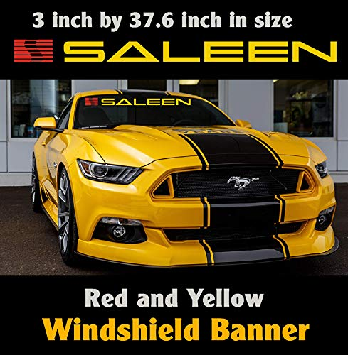 Ford Saleen Mustang Windshield Banner Yellow and Red 3 inch by 37.6 inch / Decal / Sticker / Emblem Mustang / Boss / GT.
