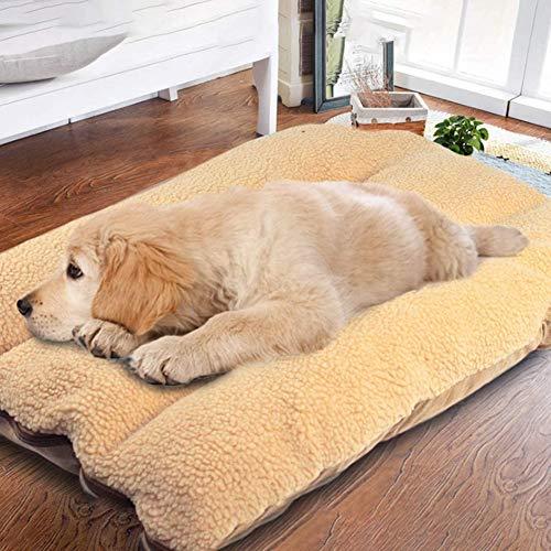 Cama ortopédica extra gruesa para mascotas, cojín de felpa con cordero de cachemira, cama interior lavable y desmontable (100 x 60 cm, marrón)