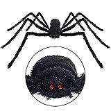 HYRIXDIRECT Outdoor Halloween Decorations Halloween Spider Decoration Triangular Mega Spider Web with Stretch Cobweb Set Party Yard Decor (Only Spider 49.2 in)