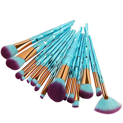 MEIYY Pinceau de maquillage 15Pcs Fishtail Makeup Brush Set Foundation Eyeshadow Contour Eye Blending Contour Brushes Make Up Beauty Set