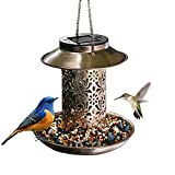 Omore Solar Bird Feeder, Heavy Duty Metal Hanging Wild Bird Feeders with Light for Garden Yard Outdoor, Unique Lantern Shape Decorative Gifts