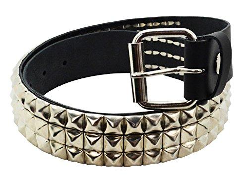 Bullet 69 3 Row Silver Pyramid Stud Unisex Leather Belt Black M