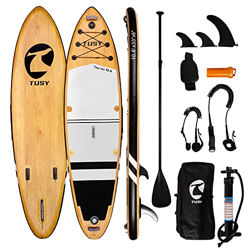 """TUSY Inflatable Stand Up Paddle Board 10'6""""×33""""×6"""" with Premium Sup Accessories & Backpack, Camera Mount, Wide Stance, Non-Slip Deck, Leash, Adjustable Paddle and Pump, Standing Boat for Youth & Adult"""
