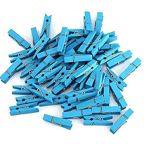 Cosanter 50 X Mini Pince à Linges en Bois pour Décoration de Scrapbooking Multi Décoration de Fête de Mariage Bleu