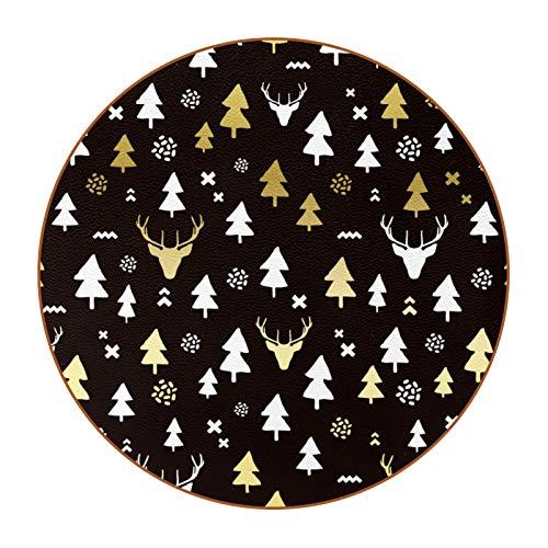 Runde Untersetzer, 6 Stück, für Zuhause, Küche, schönes Geschenk, Weihnachtsbaum, Elch, Hirsch