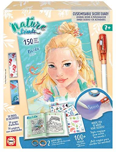 Educa - Nature Friends Manualidades Diario Secreto Personalizable Naida, 150 páginas, Incluye ahesivos, washitape y bolígrafo mágico, a Partir de 7 años (18941)