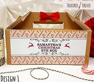 Personalizable Nochebuena caja con libre regalo | fiesta bolsa de regalo | con cinta y papel de seda–diseño 1 Small White Box