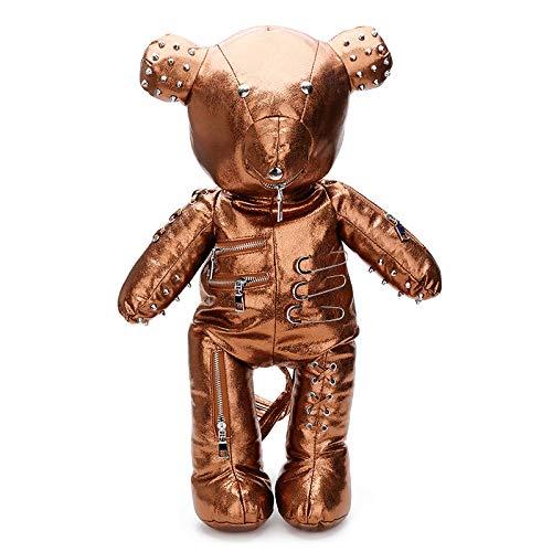 Skymoo Moda Punk Bear Mujer Mochila Estilo Punk Bolsas Escolares Diseñador Mochilas para Niñas Adolescentes, champán (Dorado) - GTB-8942