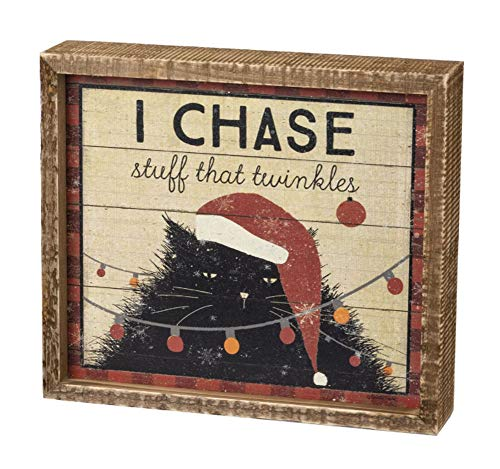 Primitives by Kathy Rustic Box Sign - I Chase Stuff That Twinkles Cat
