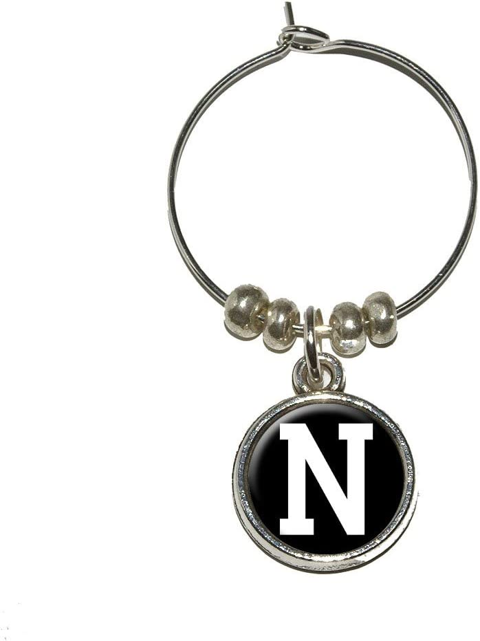 Letter New Free Shipping Clearance SALE Limited time N Initial Black White Wine Marker Stem Charm Glass Drink