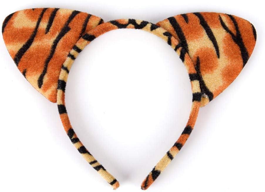 PLBB3K Diademas Corta Oreja Felpa Gato Leopardo del Tigre Linda Diadema Mujeres Niñas Kids Party Festival Fantástico de Pelo Accesorios-D Diademas Mujer (Color : C)