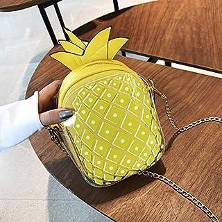Adebie - Cute Pineapple Female 2019 Summer New Mini Chain Messenger Bag Jelly Clear Designer Shoulder Bag Women Transparent Crossbody Bag Yellow []