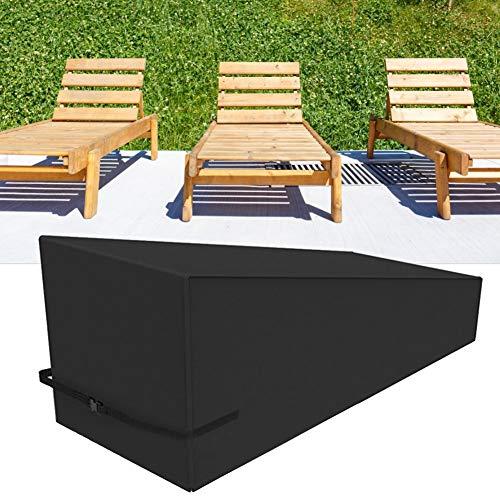 Cubierta de la silla del sillón del patio, jardín al aire libre Patio Reclinable impermeable a prueba de polvo Silla del sillón Cubierta protectora Negro 208x76x79cm Cubierta de la silla del sillón de