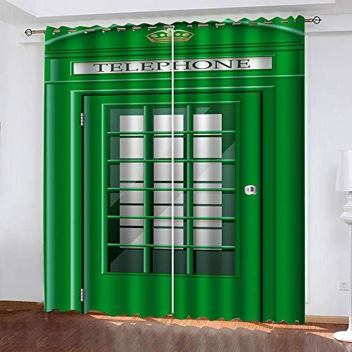 WUBMQ Cortinas Opacas Salon Habitacion Infantil 2 Piezas Cortinas Termicas Aislantes Frio Y Calor con Ojales Reduccion Ruido Decoración De Hogar, 3D Cabina De Teléfono Verde 264X246Cm (AnxAl)