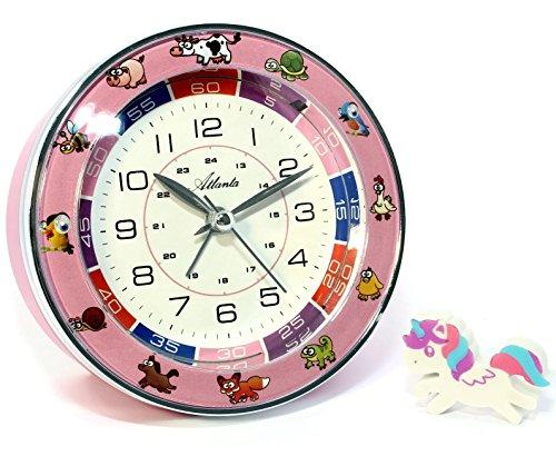 Reloj despertador infantil de Atlanta, sin sonido de tictac, para niñas, rosa, rueda 1982-17, con goma de borrar de unicornio