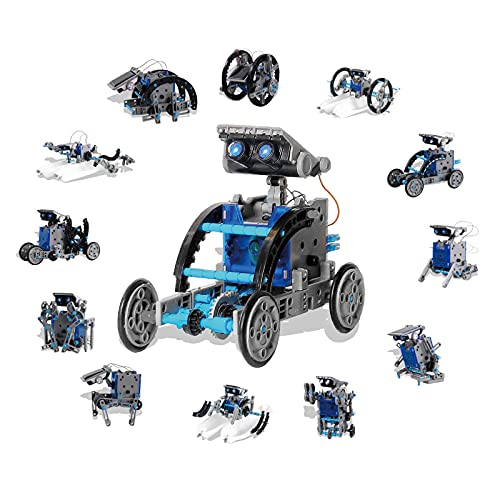 12 Different Robots in 1 Toy for Kids Ages 8-10 Plus. Complete 190 Piece DIY Kit. Projects from Easy to Advanced. Solar Powered, Clear Instructions, Promotes STEM Interest in Science, Technology