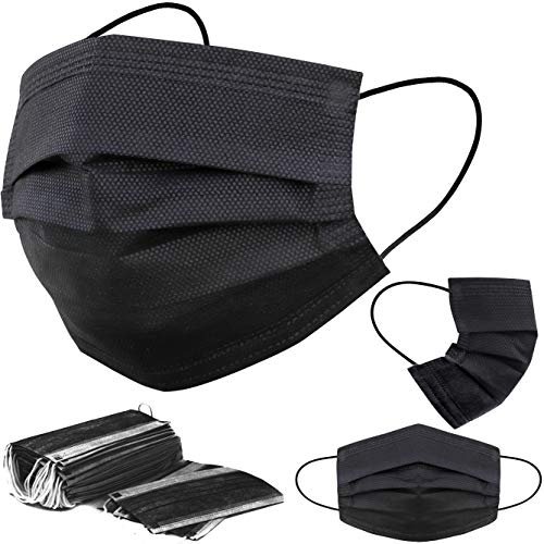 Black Disposable Face Masks - 50 PCS Black Face Masks for Men & Women - 3 Layers Protection - Comfortable/Adjustable/Breathable Black Mask