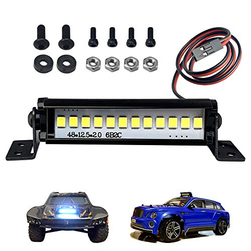 RC Crawler Car LED Light Bar Roof Lamp Kit for 1/10 Traxxas Slash Rustler TRX-4 SCX10 ii D90 Gen8 1/16 E-Revo Summit 1/18 Volcano Teton Latrax