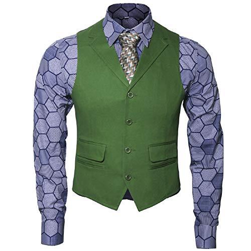 Adult Mens Knight Clown Costume Shirt Vest Tie Outfit Suit Set Fancy Dress Up Halloween Cosplay Props (Medium, Shirt Vest Tie Set)