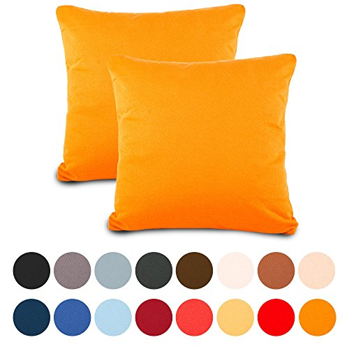 aqua-textil Classic Line Kissenbezug 80 x 80 cm orange Baumwolle Kissen Bezug Reißverschluss Jersey Kissenhülle