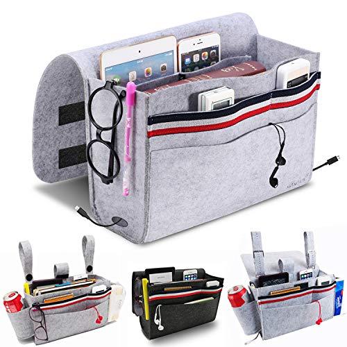 MANGATA Bedside Pocket, Bedside Storage Organiser Caddy Non-Slip with 5 Pocket Remote Control, Mobile Phone, Glasses, Light Grey