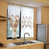 Floral Embroidery Kitchen Curtain Valance Lace Sheer Curtains with Pom Pom Pastoral Style Cafe Curtain Half Window Sailing Tier Curtains for Bathroom by-White 250x160cm(98x63inch)