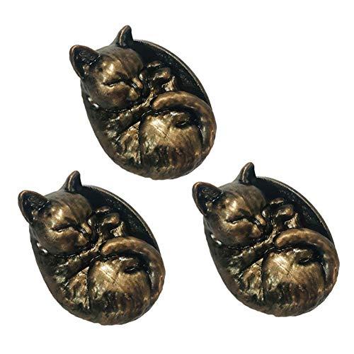 Panda Legends Perillas de Resina de Gato Durmiente Encantador de 3 Piezas, perillas de cajón de Armario de tocador, manijas para Cocina, baño, Armario, Bronce