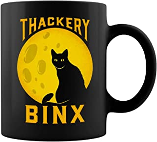 Hocus Pocus Thackery Binx Cat Ceramic Coffee Mug Tea Cup (11oz, Black)