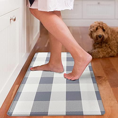 EARTHALL Kitchen Mat Cushioned Anti-Fatigue Floor Mat, 17.3'x30', Waterproof Non-Slip Grey Buffalo Plaid Kitchen Rug Ergonomic Comfort Standing Mat for Kitchen, Home, Office, Sink, Laundry, Desk