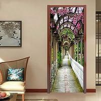 家の装飾デカール 3DフラワーギャラリーDiyドアステッカーPvc自己粘着性防水家の装飾