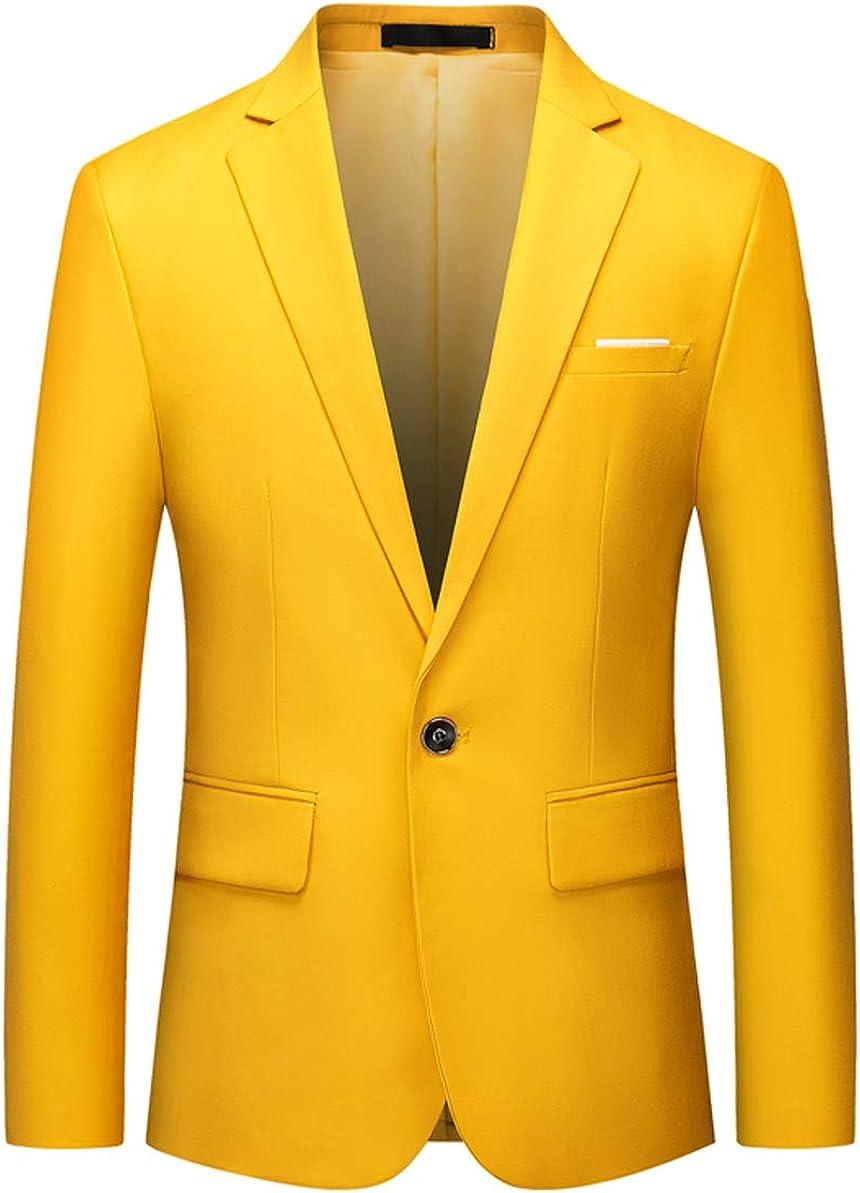 OUYE Men's Solid 1 Button Back Vent Blazer