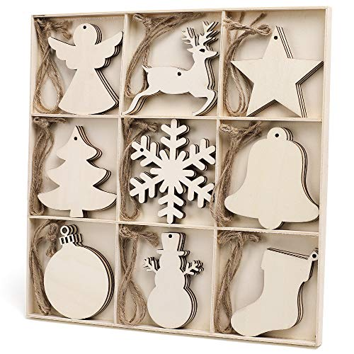N&T NIETING 27pcs Wooden Christmas Ornaments, 9 Style Unfinished Wooden Cutouts Embellishments Hanging Ornaments for Christmas Decorations, Tree Decor, Kids Crafts DIY