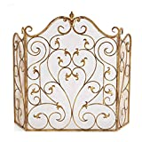 Golden fireplace screen with door, foldable retro hollow mesh carved decorative fireplace fire screen, pleasant heavy metal fireplace protection fence, used for fireplace accessories, home decoratio