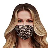Washable Face Mask with Adjustable Ear Loops & Nose Wire - 3 Layers, 100% Cotton Inner Layer - Cloth Reusable Face Protection with Filter Pocket - Made in USA - (Leopard Pattern