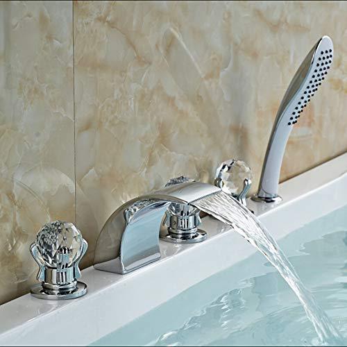 GIPOTIL Bañera grifo moda LED color cambiante cascada baño bañera grifo generalizado 5 unids ducha bañera mezclador