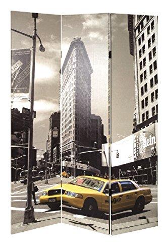 Haku Paravent mit USA Taxi Motiv, Holzrahmen und Fotogewebe; Maße (B/T/H) in cm: 120x3x180