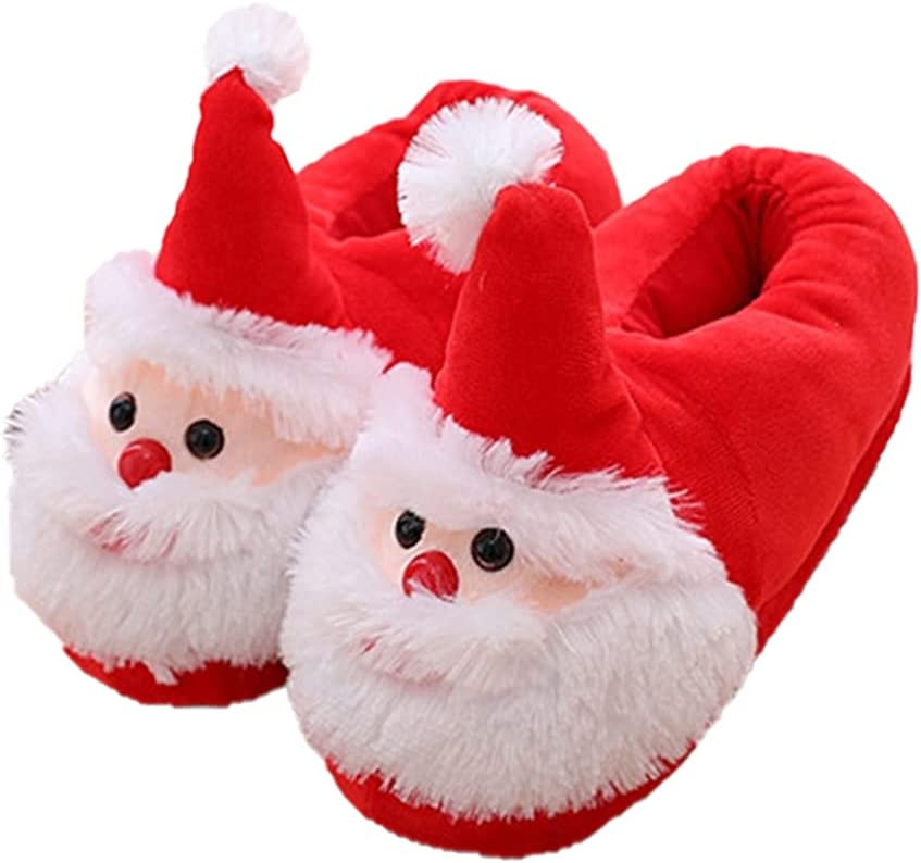 Generic Christmas Slippers Santa Slippers Christmas Anti- Skid Sole Winter Furry Slipper Comfortable Home Warm Shoes