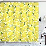 N\A Gelber Duschvorhang, Illustration des Bündels von Zitronen-Zitrus-Bildern & bildet Natur-Kunstdruck für das Leben, Stoff-Stoff-Badezimmer-Dekor-Set mit Haken Grün-Gelb
