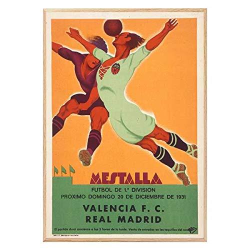 Póster Vintage Futbol Real Madrid Valencia - Decoración Cuadros Pared - Poster...