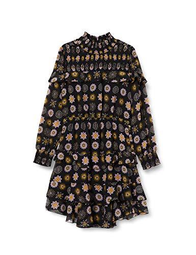 Scotch & Soda R´Belle Girls Drapiertes, langärmliges Kleid mit Rüschen Dress, Combo E 0221, 14