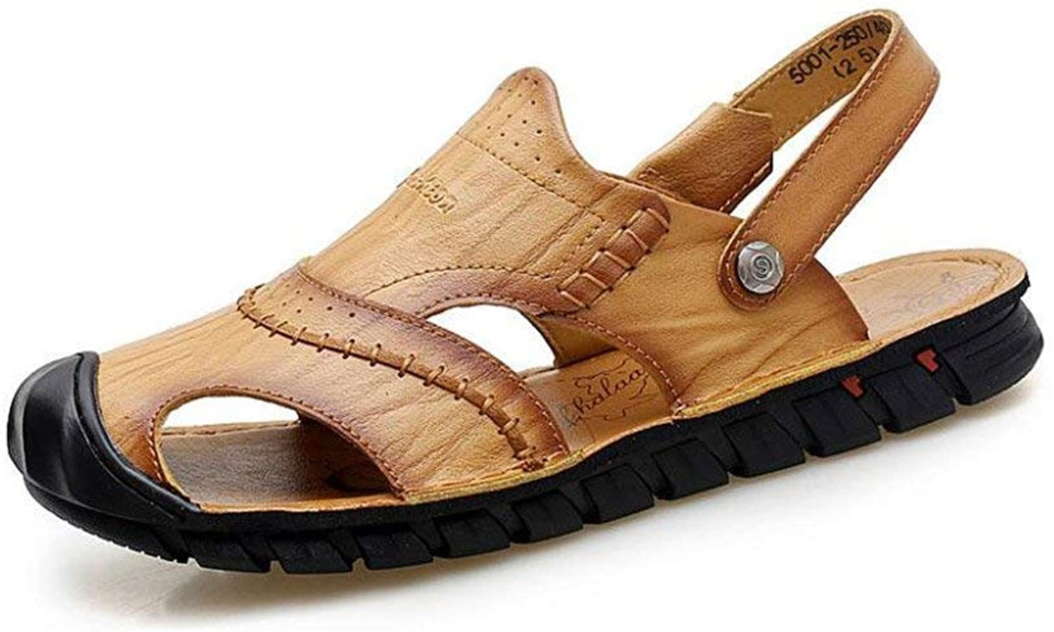 Sport Mens Sandals Baotou Outdoor Sandals Men Closed Toe Summer Sporty Leather Beach shoes Hiking Outdoor Anti Collision Casual Sandals Flip Flop (color  One, Size  39) ( color   On , Size   43 )