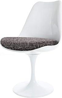 Eero Saarinen Conjunto De Estilo Tulipán - Mesa Circular Media Blanca con Dos Sillas Gris Texturizado