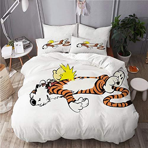 DAHALLAR Bettwäsche-Set,Calvin & Hobbes,Mikrofaser Bettbezüge Set mit Reißverschluss,und Kopfkissenbezüge,135x200
