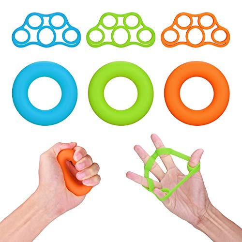 IEsafy Finger Exerciser, Finfer Stretcher Hand Grip Strengthener Trainer Grippers Perfect for Rehabilitation and Athletes (6PCS)