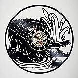 WERWN Regalo de la decoración de la Sala de Estar del Reloj de Pared del Vinilo de la decoración del cocodrilo del Animal Salvaje