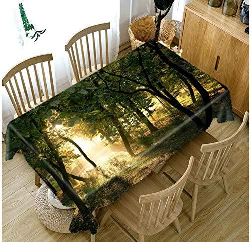WYRRIG Woods Sunlight Landscape 3D-Druck Tischdecke Rechteck Aufbewahrung Tischdecke Haushalt Couchtisch Pad Stoff Schreibtisch Tischdecke, 120X180Cm