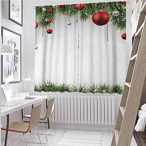 Toopeek - Cortina opaca navideña clásica con adornos y bolas de madera de pino coníferas, 2 paneles de 52 x 84 pulgadas, color verde y rojo