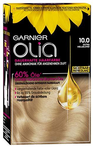 Garnier Olia Haar Coloration Extra Hellblond 10.0 / Färbung für Haare enthält 60% Blumen-Öle für intensive Farbkraft - Ohne Ammoniak - 3 x 1 Stück