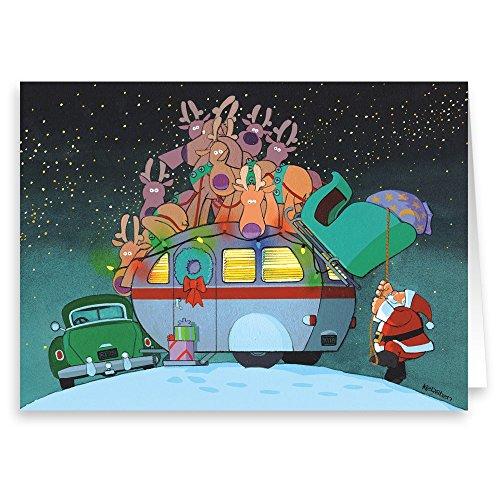 Camper And Santa Christmas Card Set